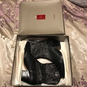"Cole Haan black cowgirl boots ""morgen short boot"""